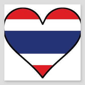 """Thai Flag Heart Square Car Magnet 3"""" x 3"""""""
