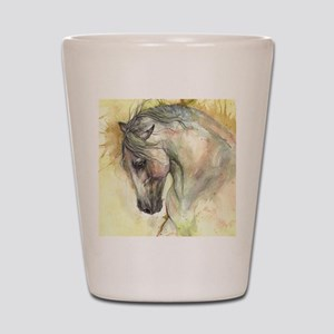 Horse on yellow background Shot Glass