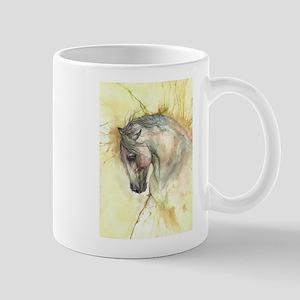 Horse on yellow background Mugs