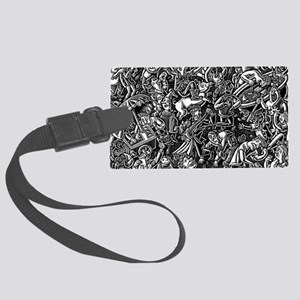 Black and White Wild Party Scene Large Luggage Tag