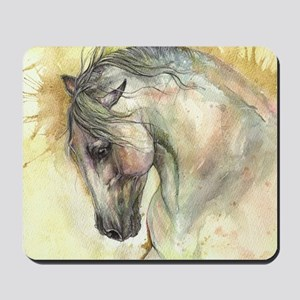 Horse on yellow background Mousepad