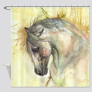 Horse on yellow background Shower Curtain