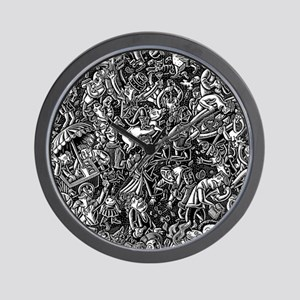 Black and White Wild Party Scene Wall Clock