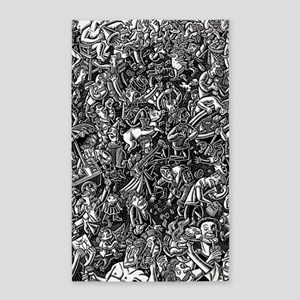 Black and White Wild Party Scene Area Rug