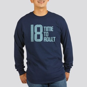 Time to Adult Blue Long Sleeve Dark T-Shirt