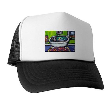 Boston Terrier whimsical duck Trucker Hat