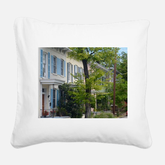 Rainbow Row Square Canvas Pillow