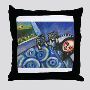 Pug Wake-up call Throw Pillow