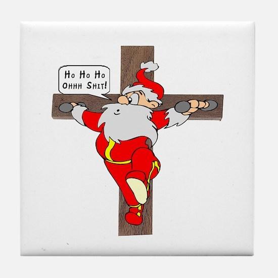 Santa on a crucifix Tile Coaster