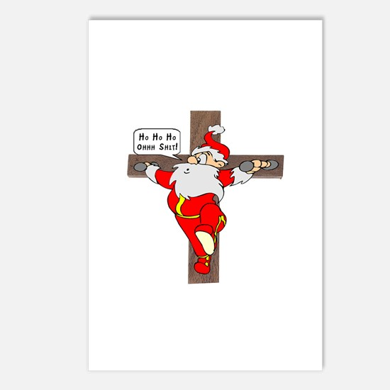 Santa on a crucifix Postcards (Package of 8)