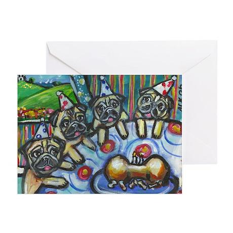 Pug Birthday bash Greeting Cards (Pk of 10)