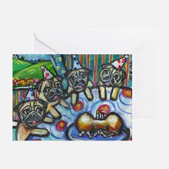 Pug Birthday bash Greeting Card
