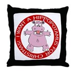 Hippo for Christmas Throw Pillow