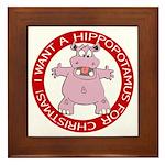 Hippo for Christmas Framed Tile