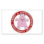 Hippo for Christmas Rectangle Sticker