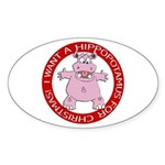Hippo for Christmas Oval Sticker