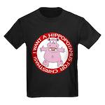 Hippo for Christmas Kids Dark T-Shirt
