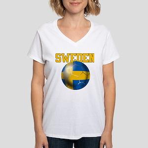 Sweden Football Women's V-Neck T-Shirt