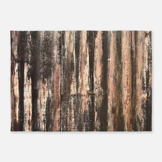 Rusted Corrugated Metal 5'x7'Area Rug