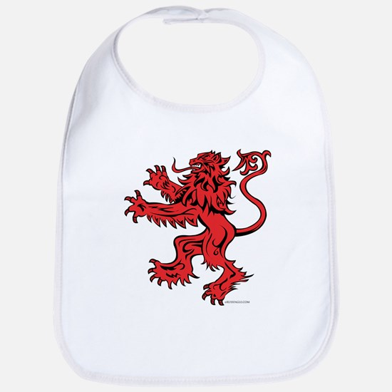 Lion Red Black Cotton Baby Bib