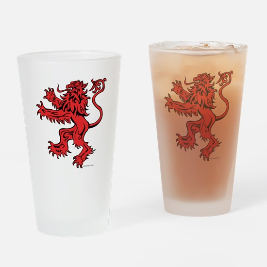 Lion Red Black Drinking Glass