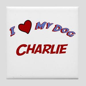 I Love My Dog Charlie Tile Coaster