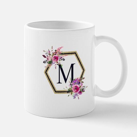 Gold Floral Hexagon Monogram Mugs