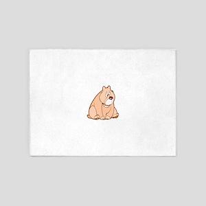 Cute Brown Bear 5'x7'Area Rug
