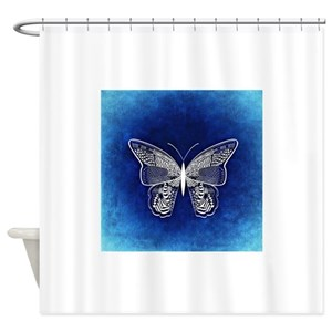 Blue Black Butterfly Shower Curtains