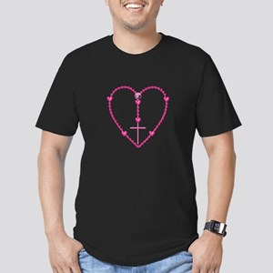 Pink Rosary with Heart Men's Fitted T-Shirt (dark)
