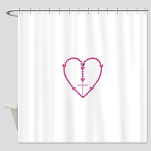 Pink Rosary with Heart-Shaped Beads Shower Curtain
