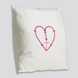 Pink Rosary with Heart-Shaped Burlap Throw Pillow