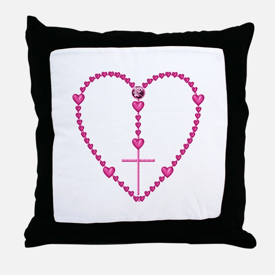 Pink Rosary with Heart-Shaped Beads Throw Pillow