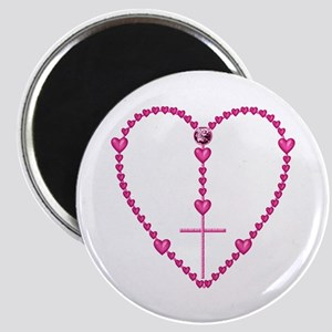 Pink Rosary with Heart-Shaped Beads Magnet