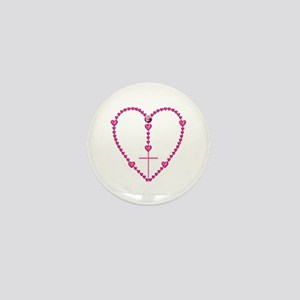 Pink Rosary with Heart-Shaped Beads Mini Button