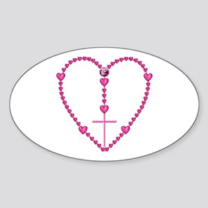 Pink Rosary with Heart-Shaped Beads Sticker (Oval)