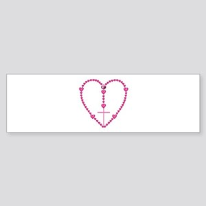 Pink Rosary with Heart-Shaped Bea Sticker (Bumper)
