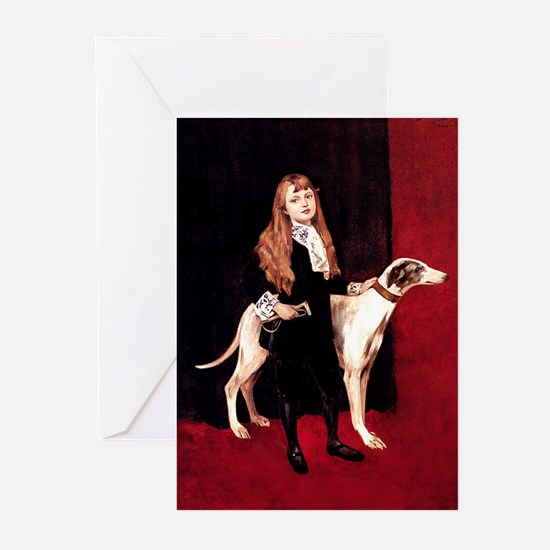GREYHOUND & GIRL Greeting Cards