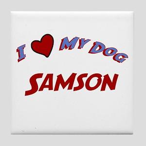 I Love My Dog Samson Tile Coaster