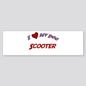 I Love My Dog Scooter Bumper Sticker