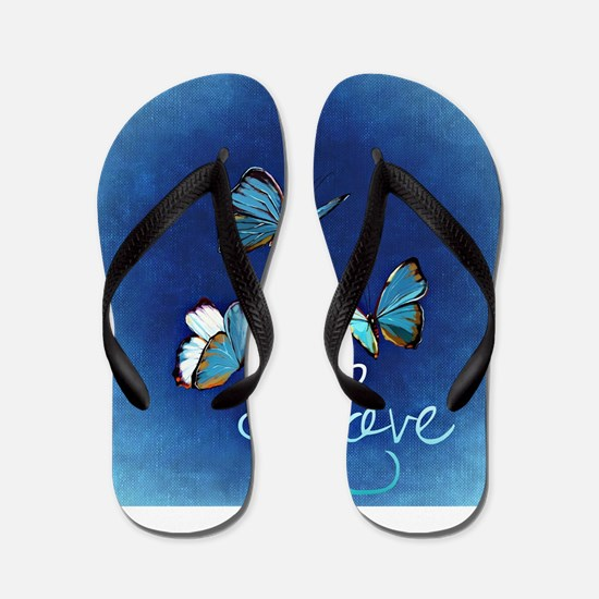 Love & Butterflies (Blue) Flip Flops
