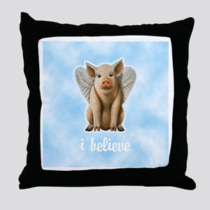 I Believe Flying Pig Throw Pillow