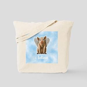 I Believe Flying Pig Tote Bag