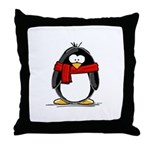 Red Scarf Penguin Throw Pillow