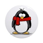 Red Scarf Penguin Ornament (Round)