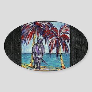 """""""Island Donkey""""- Oval Sticker"""