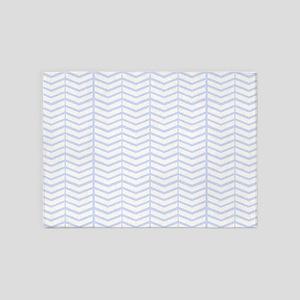 Soft Blue Herringbone 5'x7'Area Rug