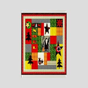 Christmas Folk Art Quilt Appl Rectangle Magnet