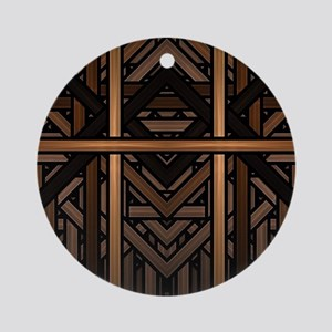 Woven Wood Round Ornament