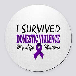 I Survived Domestic Violence Round Car Magnet